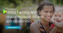 Bolsa Família beneficia 13,8 milhões de famílias e tem maior repasse do ano